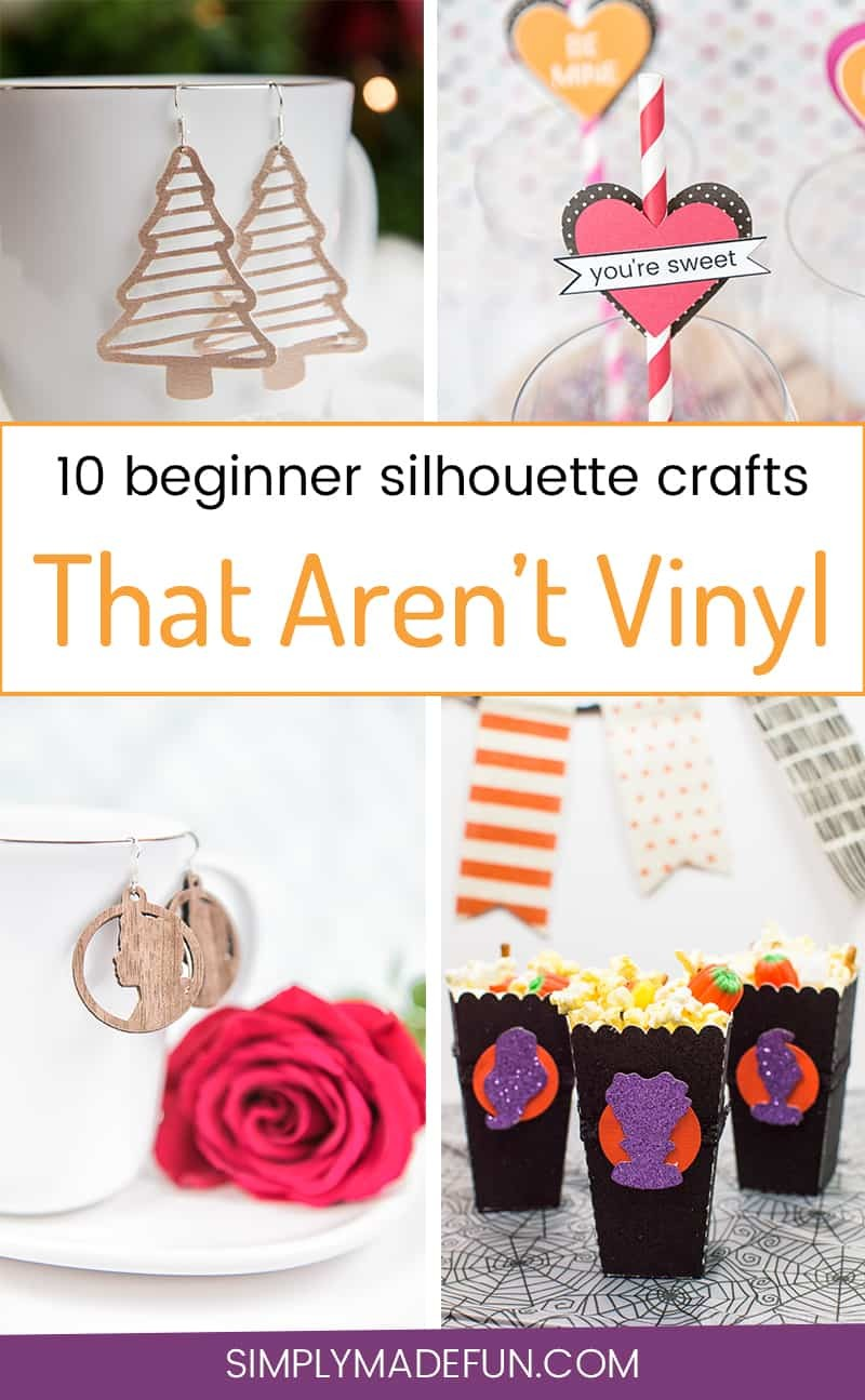 Beginner Silhouette Crafts That Aren't Vinyl - You don't need to buy vinyl to craft with your Silhouette Cameo! Use paper, faux wood, leather, and a ton of other materials to DIY easy gifts, home decor, and fashion items for you and your friends!