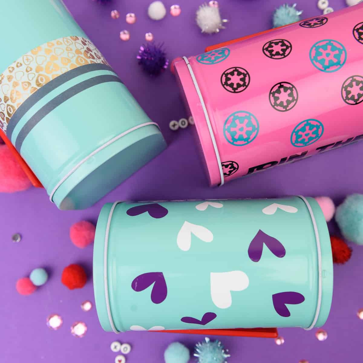 Valentine's Day Mailboxes - I am slightly addicted to the Target Dollar Spot when it comes to finding things to craft with. These cute mailboxes I found are perfect to personalize with vinyl and washi tape and give your kids a fun box to put their classmates Valentine's in!