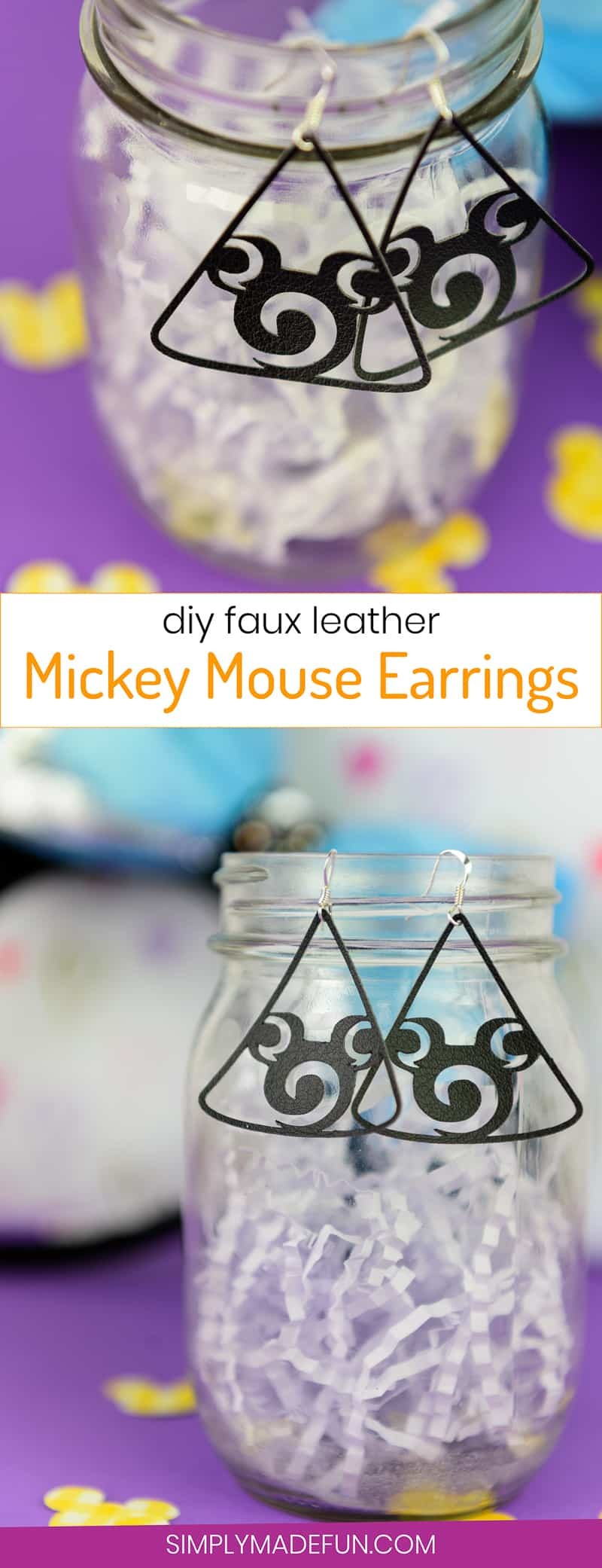 Faux Leather Mickey Mouse Earrings - If you hate heavy earrings as much as I do you'll love using faux leather to make stylish and lightweight ones of your own! You can buy leatherette from the Silhouette Store and DIY your own faux leather mickey mouse earrings with your Silhouette machine, just in time for your next Disney vacation!