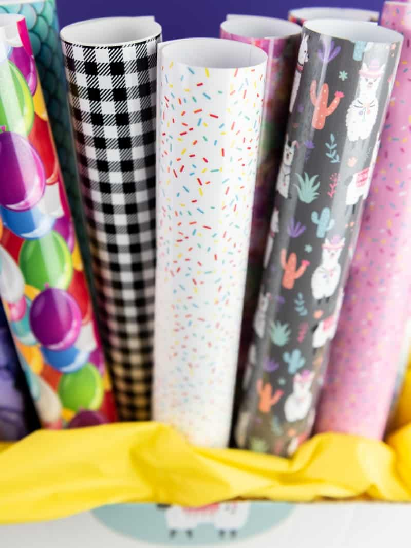 Rolls of Heat Transfer and Adhesive Patterned Vinyl to use for projects