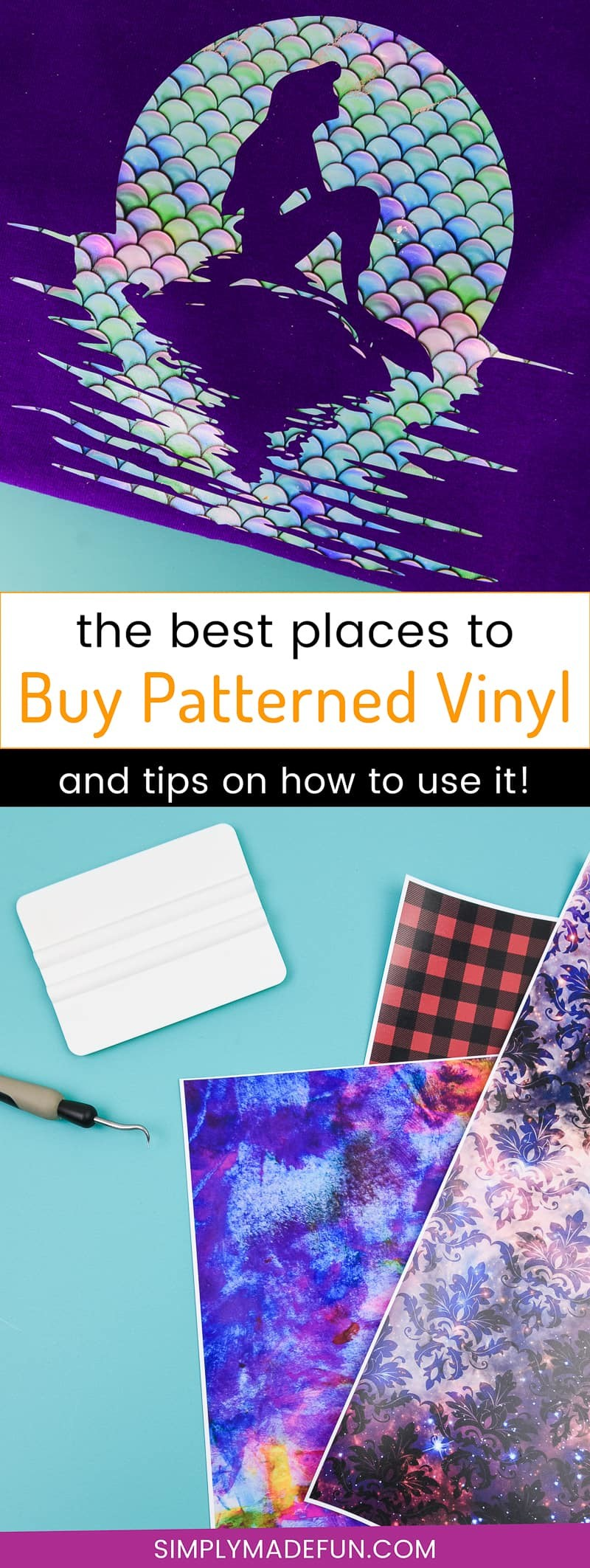 Buy Patterned Vinyl - Want to change up your vinyl game and find some cool new vinyl patterns to try for your projects? I've put together a list of my favorite places to buy patterned vinyl (heat transfer and permanent vinyl!) for your next Silhouette Cameo or Cricut project!