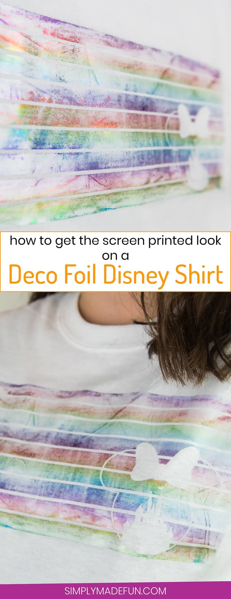 Deco Foil Disney Shirt - Use Deco Foil from Expressions Vinyl to create a screen printed look to your fabric with heat transfer vinyl! It's such an easy, quick, and colorful DIY and gives your fabric a screen printed look, even though you're using vinyl.