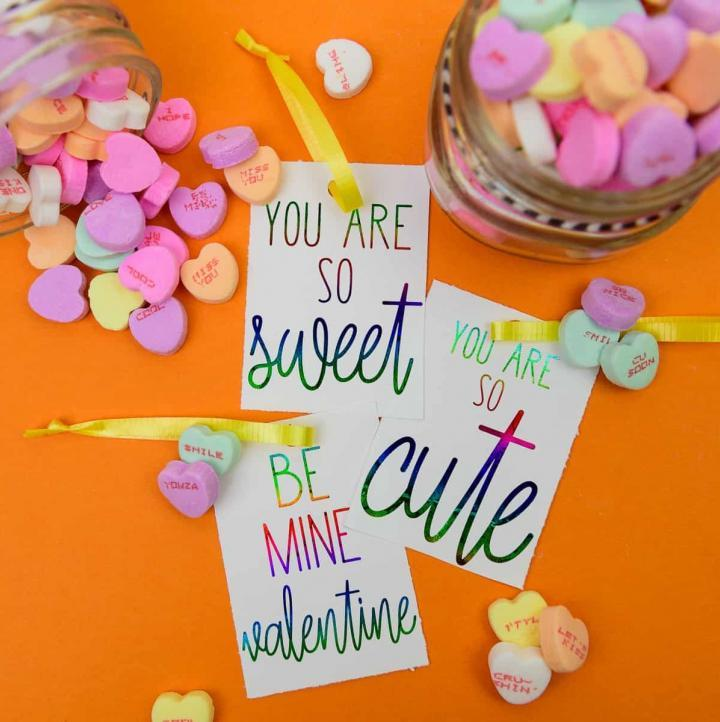 Candy Heart Inspired Deco Foil Valentine's Day Tags