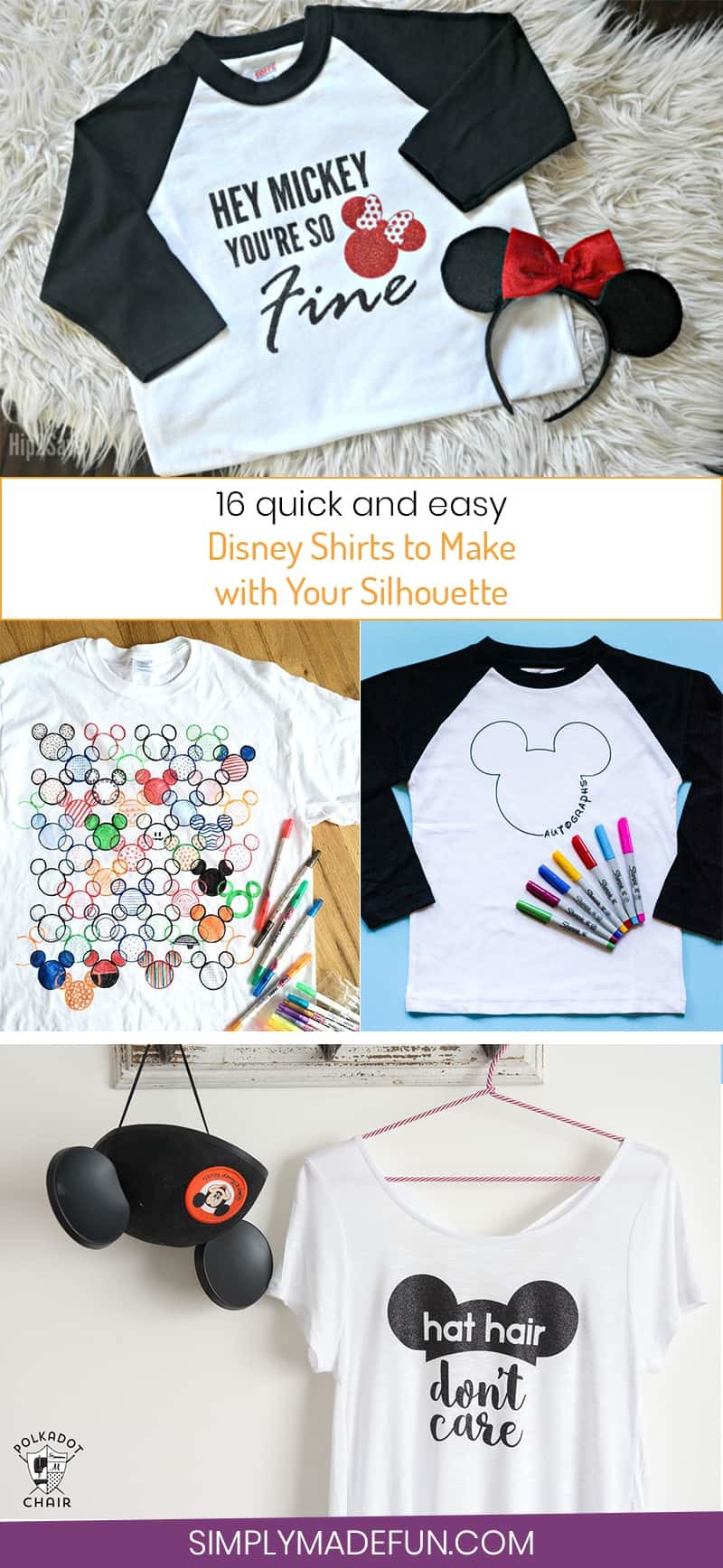 Disney Shirts to Make with Your Silhouette - Before heading to the Disney parks for your next family vacation you should pull out your Silhouette Cameo and DIY some custom shirts for you and the family. We love showing off our personalities with handmade shirts and they make great conversation starters when you meet Mickey and his friends!