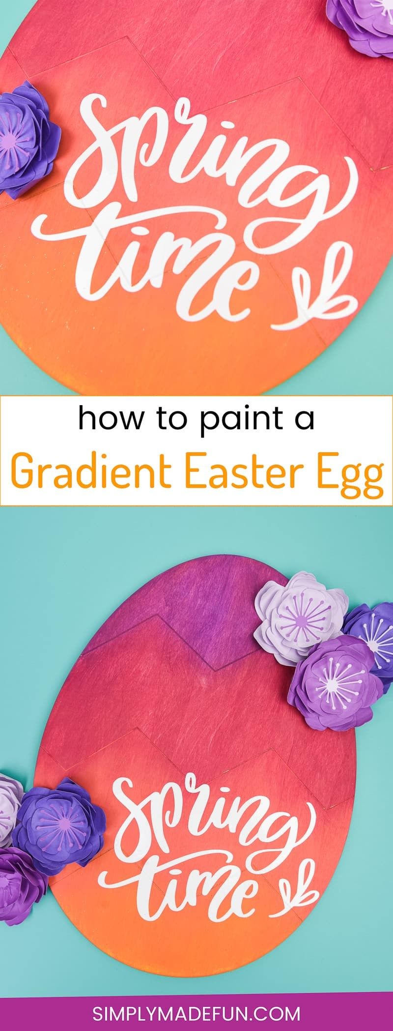 Gradient Wooden Easter Egg - This wooden Easter egg from the Target Dollar Spot is a bold and colorful DIY that is the perfect door decoration to welcome in Springtime! Use DecoArt acrylic paints to get a gorgeous gradient look and your Silhouette Cameo to cut out a vinyl phrase!