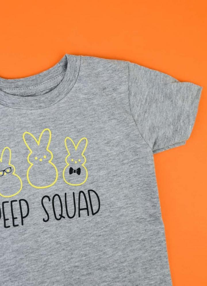 Peep Squad Easter Shirt - I really wanted something than the cute Easter shirts I've been seeing so I decided to do something a little different. This geeky Peep squad shirt is PERFECT for little boys and is so easy to make with heat transfer vinyl and your Silhouette Machine!