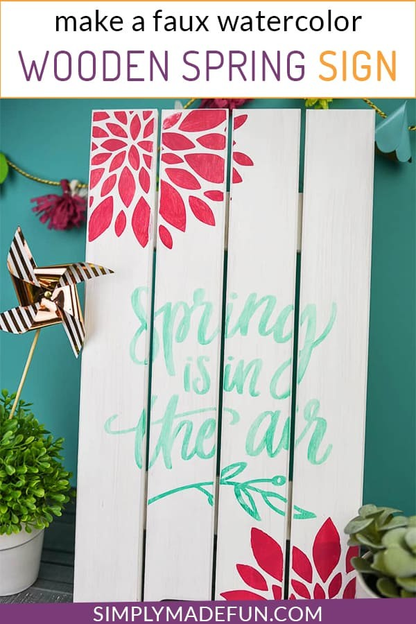 Make a wooden sign for spring with faux watercolor paint from Martha Stewart crafts
