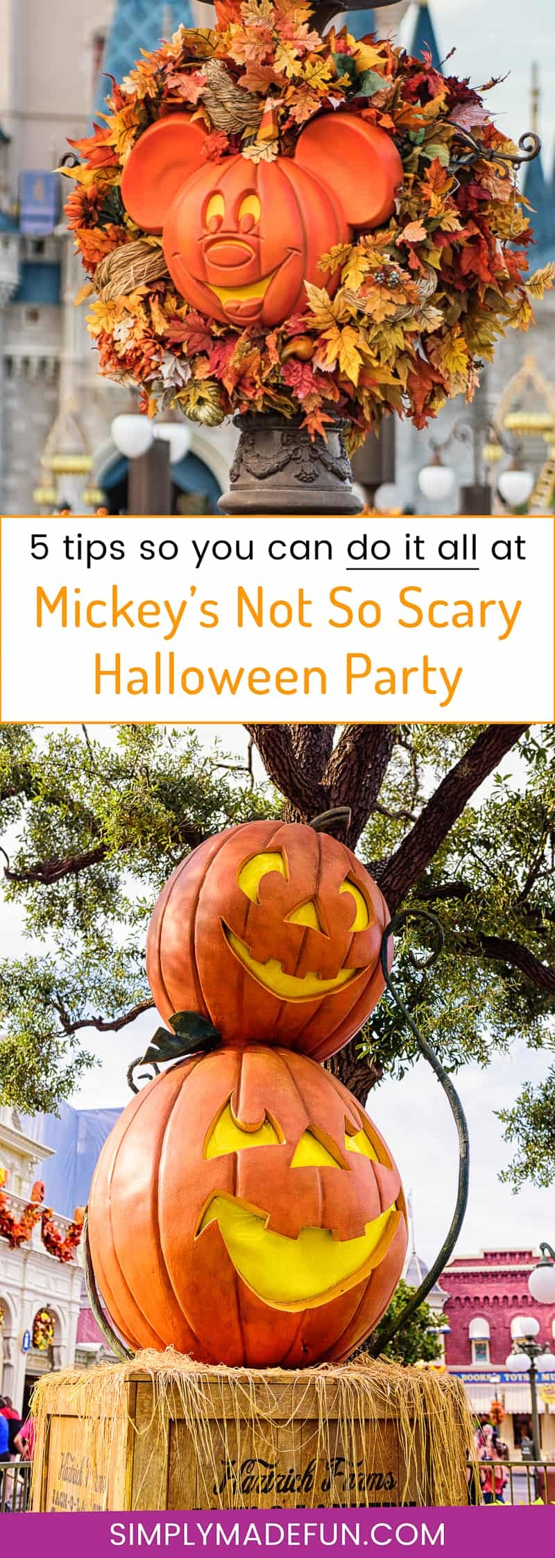 Mickey's Not So Scary Halloween Party - Get the most out of your Disney Halloween party tickets with these 5 tips for a stress-free and fun time! Learn how to manage your time at the park so you get to see all the Halloween decorations and shows while avoiding the large crowds.