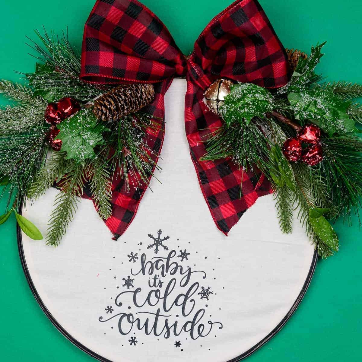 Easy Embroidery Hoop Christmas Wreath