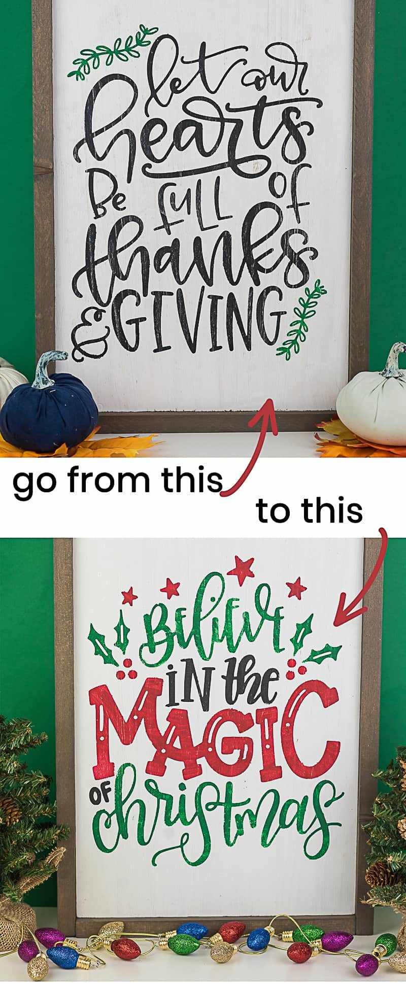 Reversible Hand Lettered Thanksgiving to Christmas Sign
