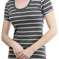 ToBeInStyle Women's Striped Short Sleeve Scoop Neck Tee