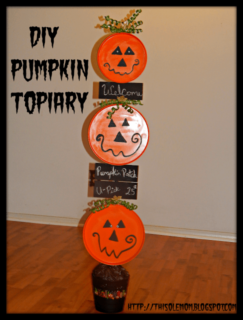 DIY Halloween Pumpkin Topiary