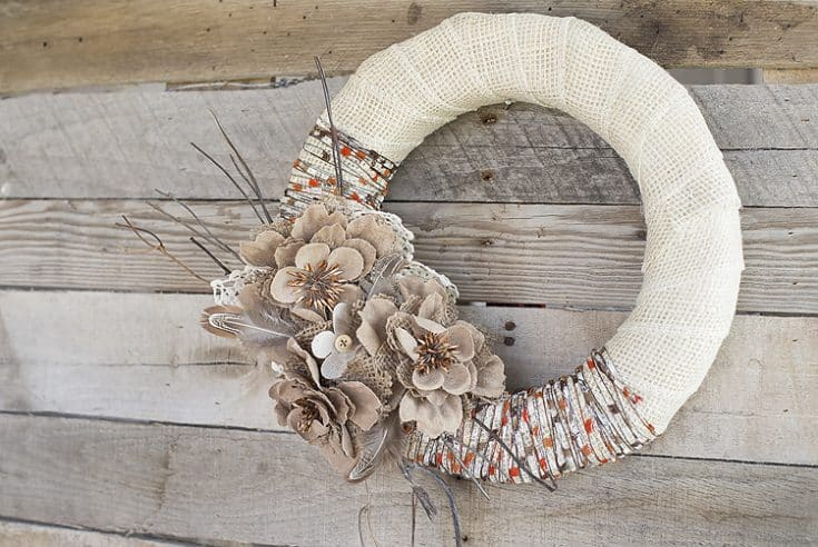 Fall Wreath DIY Project Idea: Burlap & Yarn