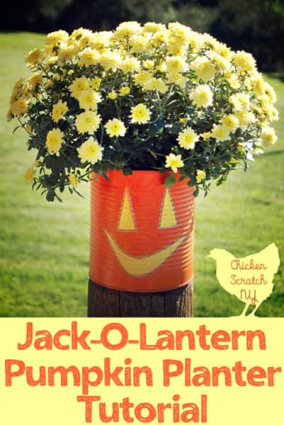 Tin Can Jack-O-Lantern Planters with DecoArt
