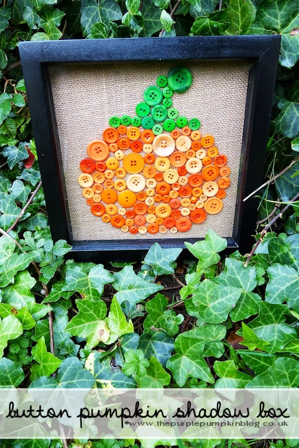 Button Pumpkin Shadow Box