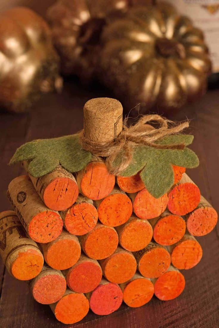 DIY Table Decor: How to Make a Wine Cork Pumpkin
