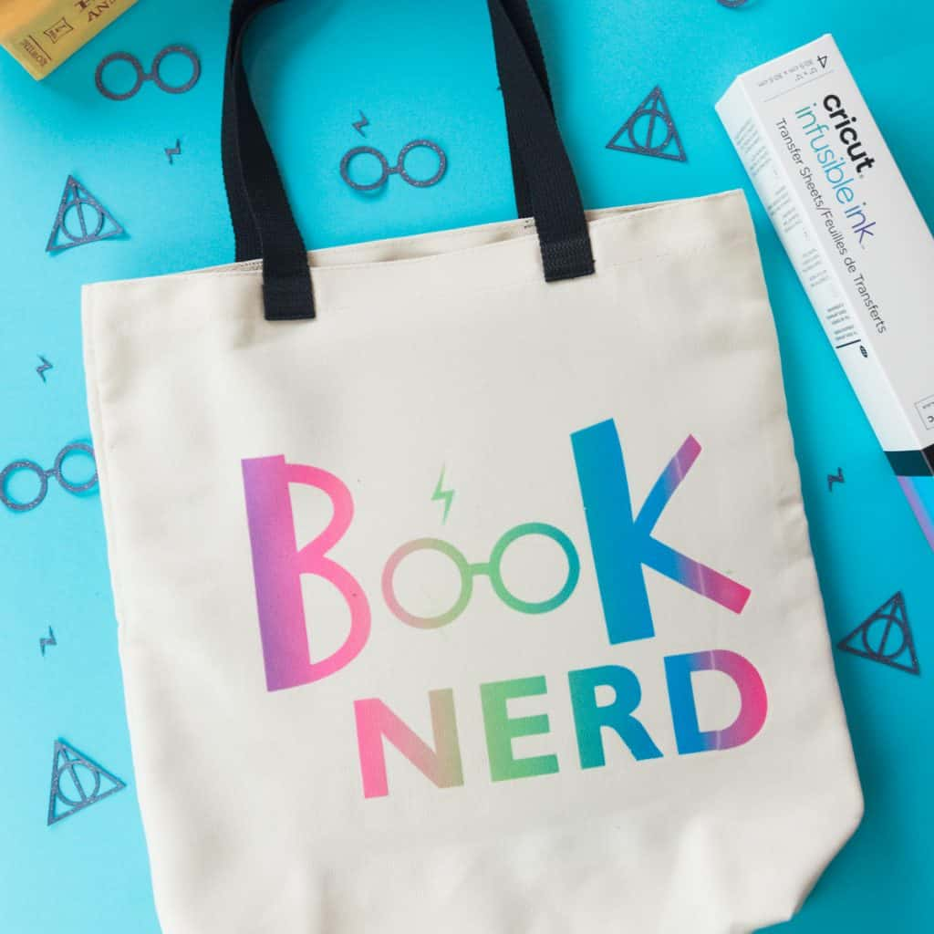 Harry Potter Tote Bag made with Cricut's Rainbow colored Infusible Ink