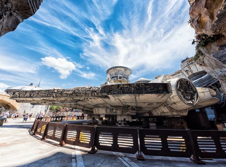 Backside of the Millennium Falcon from inside Smugglers Run at Star Wars Galaxy's Edge at Disney World