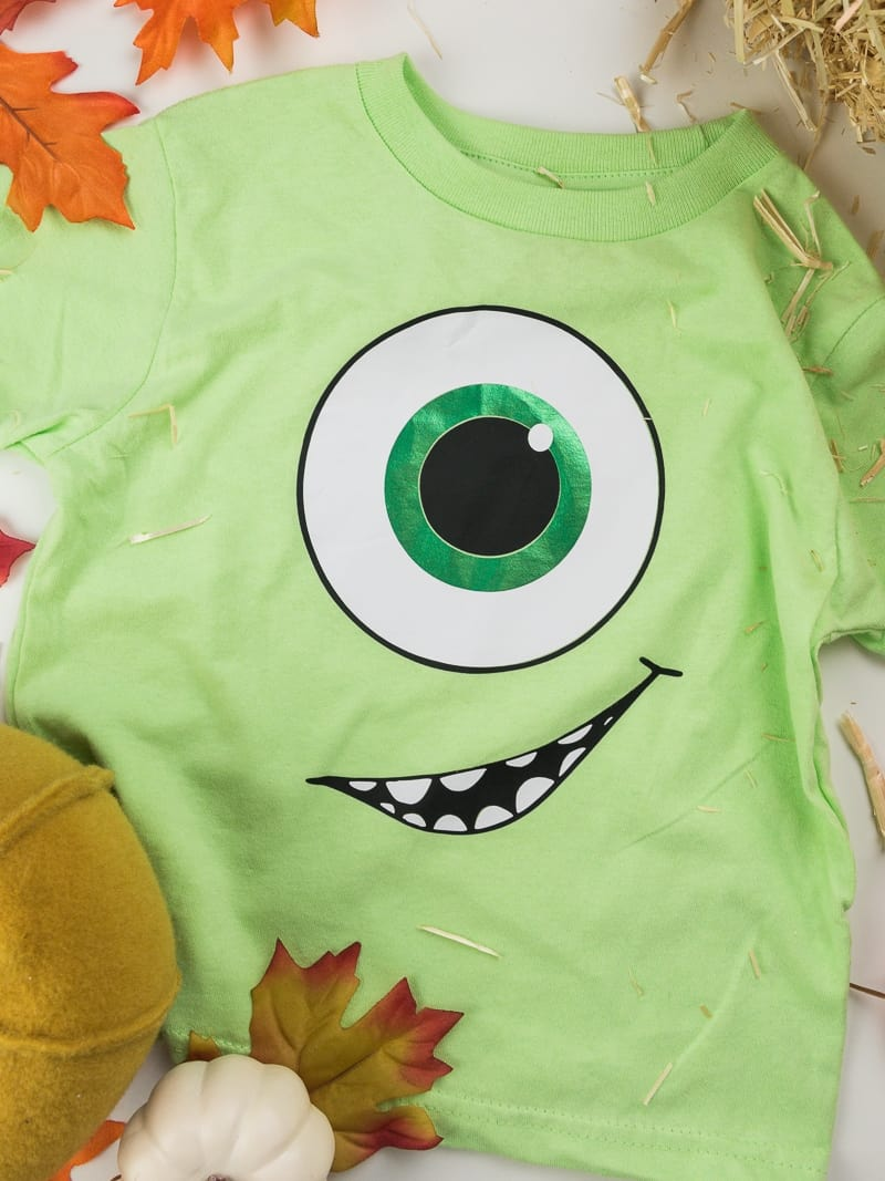 Mike Wazowski from Monsters Inc Halloween costume made with heat transfer vinyl and a Silhouette machine