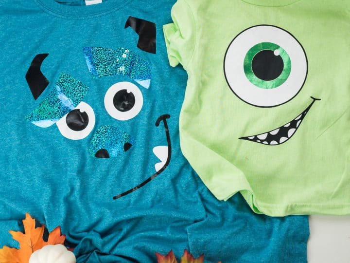 Mike Wazowski and Sully from Monsters Inc family Halloween costumes made with heat transfer vinyl and a Silhouette machine