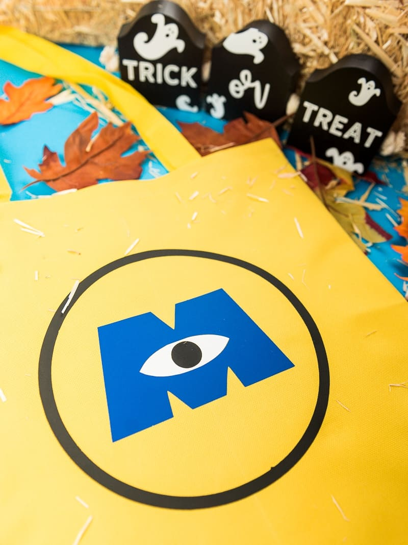 Monsters INC Halloween trick or treat bag with iron on vinyl