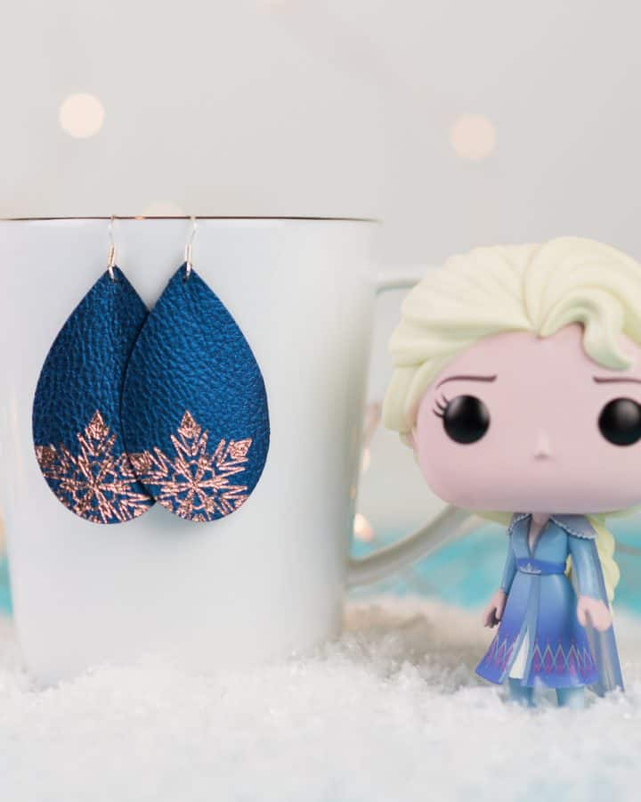 Elsa Inspired Faux Leather Earrings with Foil Quill Pens