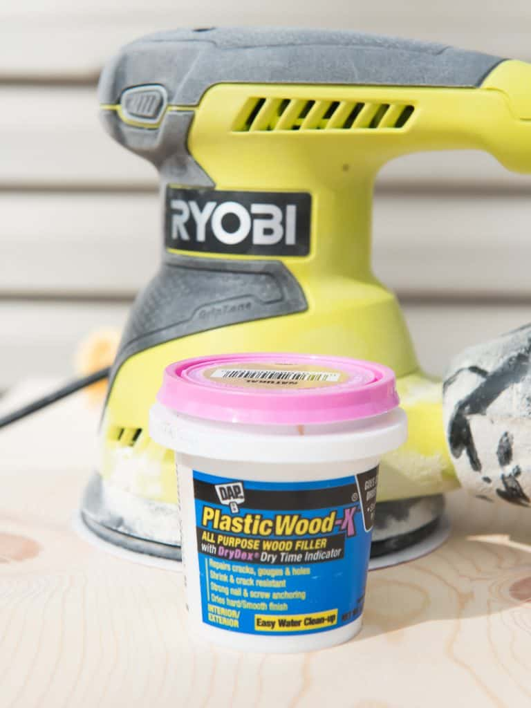 Use wood filler and the Ryobi sander to prep your wood for paint