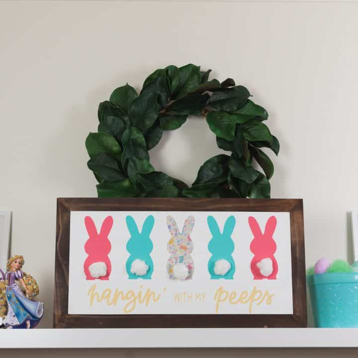 Hanging with my Peeps Easter Cut file made with the Expressions Vinyl March Mystery Box