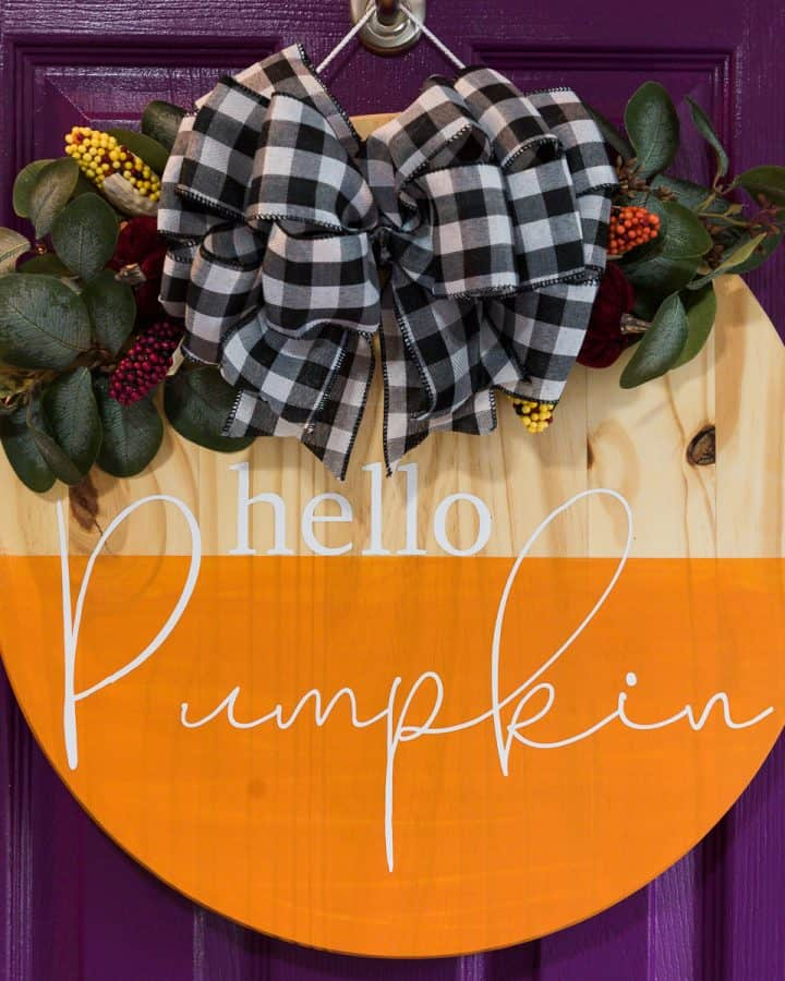 Easy Hello Pumpkin Round Door Hanger with Removable Bow